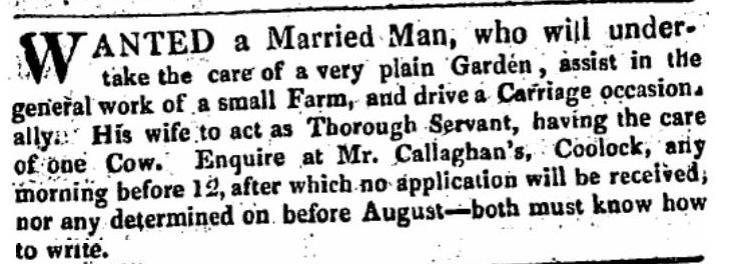 Job Vacancy, Coolock, 1822